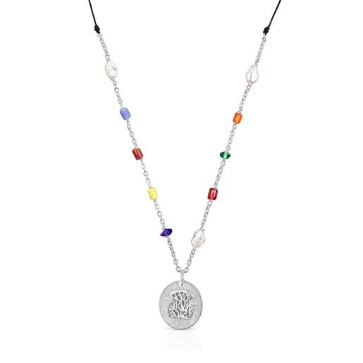 Collaret llargOceaancamafeode plata,glassmulticolor i cordó
