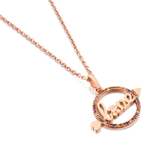 Rose Vermeil Silver San Valentin Necklace with Sapphire