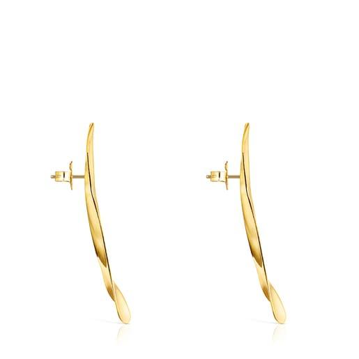 Large Silver Vermeil Nenufar petal Earrings
