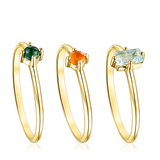 Set of Silver Vermeil TOUS Good Vibes Rings with Gemstones