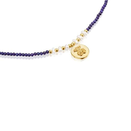 Collar camafeo de plata vermeil, lapislazuli y perlas Oceaan