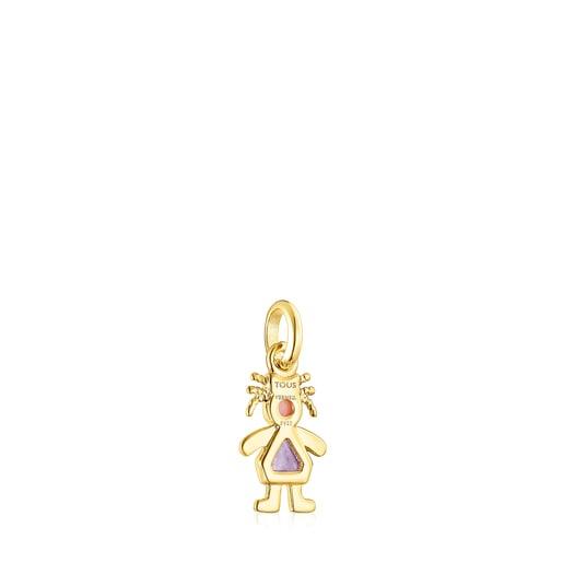 Colgante niña lazo de plata vermeil y gemas TOUS Mama