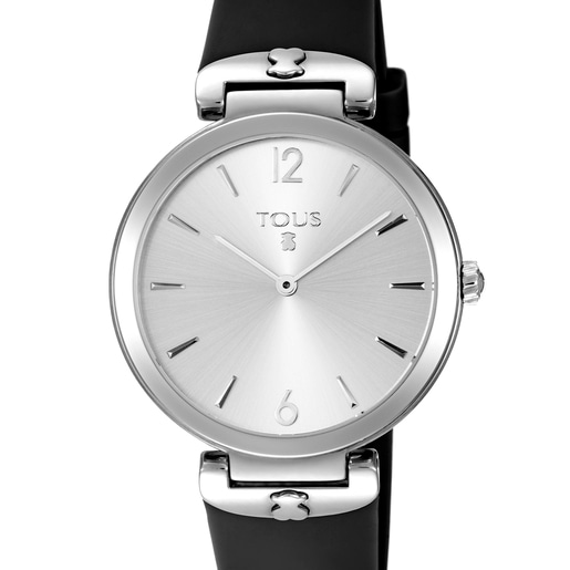 Reloj S-Mesh de acero con correa de silicona negra