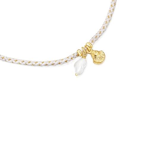 Pulsera de plata vermeil, perla y cordón gris Sea Vibes