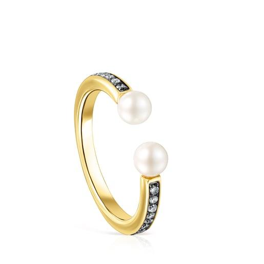 Anillo Nocturne de Plata Vermeil, Diamantes y Perlas