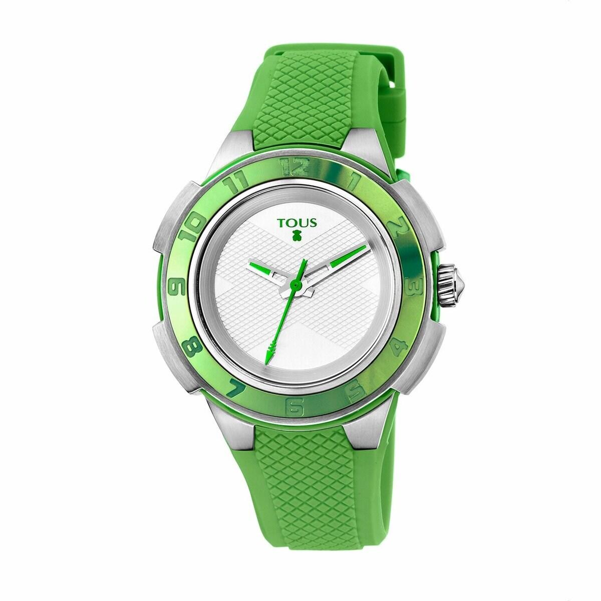 Reloj Xtous Colors bicolor de acero/aluminio anodizado verde con correa de silicona verde