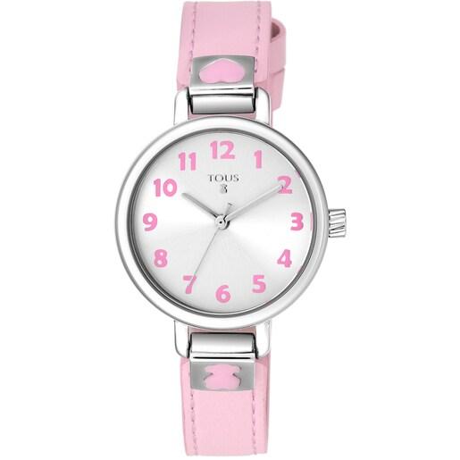 Reloj Dream de acero con correa de piel rosa