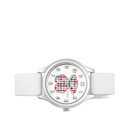 Reloj Tartan Kids de acero con correa de silicona blanca
