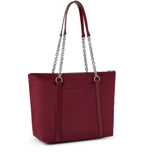 Large burgundy Empire Soft Chain Tote bag