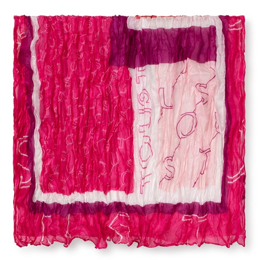 Pink silk pleated Script scarf