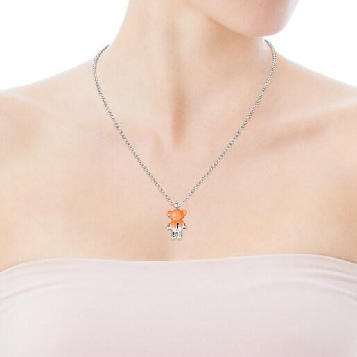 Silver Teddy Bear Pendant with orange color enamel - Online exclusive
