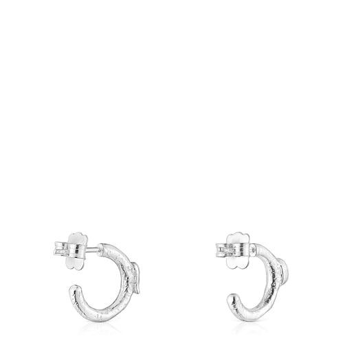 Silver Oceaan Duna Hoop earrings with carnelian