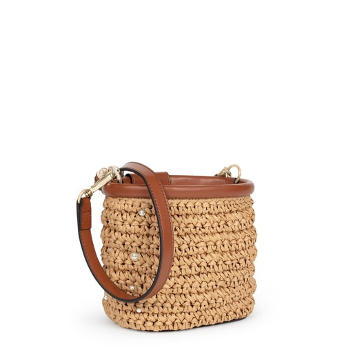 Small beige and brown TOUS Craft Bucket bag