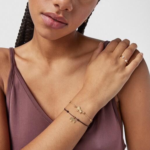 Silver Vermeil Save lion bracelet with beige Cord