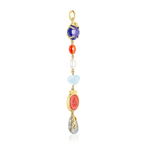 Silver vermeil Oceaan Color cameo Pendant with pink glass and gemstones