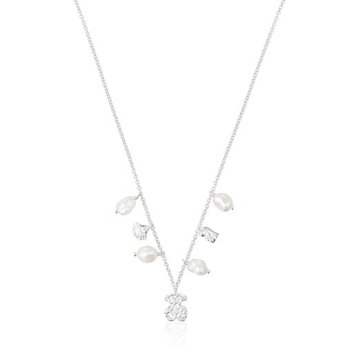 Oceaan bicolor medallion Necklace set with pearls