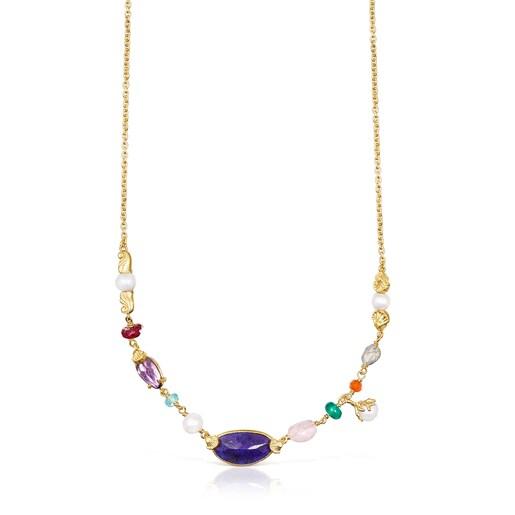 Κολιέ Oceaan Color από ασήμι vermeil με μαργαριτάρια και πολύτιμους λίθους