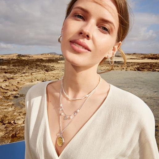 Conjunto de collares medalla bicolor y perlas Oceaan