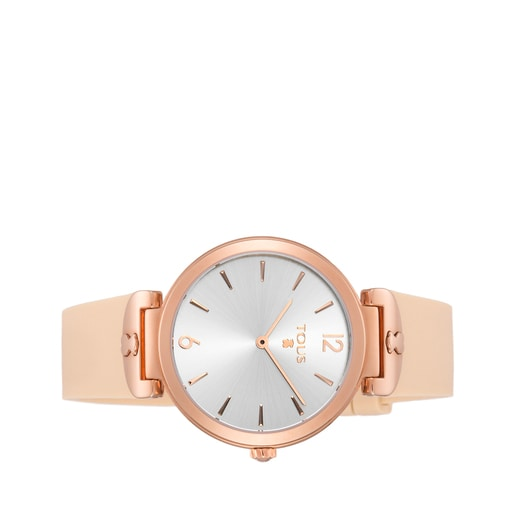 Pink IP Steel S-Mesh Watch with nude silicone strap