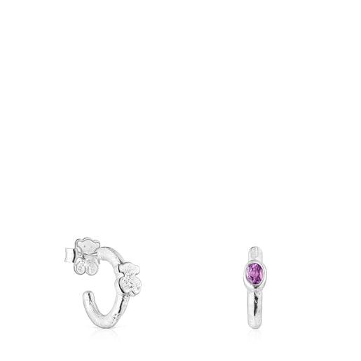 Silver Oceaan Duna Hoop earrings with amethyst