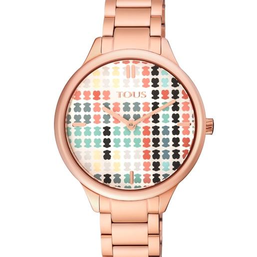 Reloj Tartan multicolor de acero IP rosado