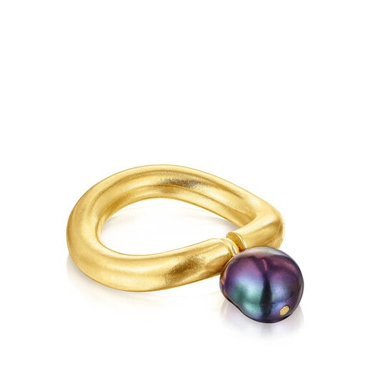Silver vermeil Hav Ring with gray pearl