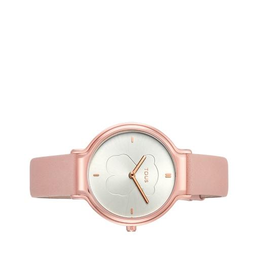 Reloj Real Bear de acero IP rosado con correa de piel nude