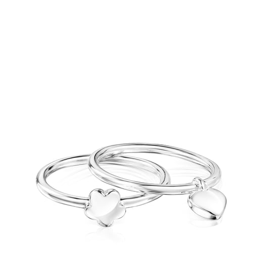 Pack de Anillos Mini Icons flor-corazón de plata