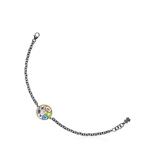 Pulsera Minifiore disco de Plata Vermeil, Rutenio y Cristal de Murano