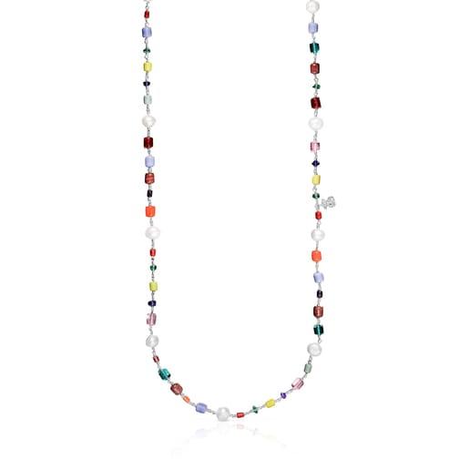 Collaret llargOceaandeglassmulticolor, plata i perles