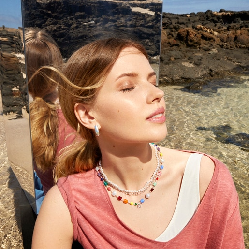 Silver Oceaan Necklace with multicolored glass and pearls