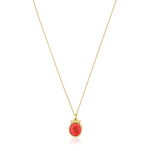 Kamee Halskette Oceaan Color aus Vermeil-Silber mit pinkfarbenem Glas