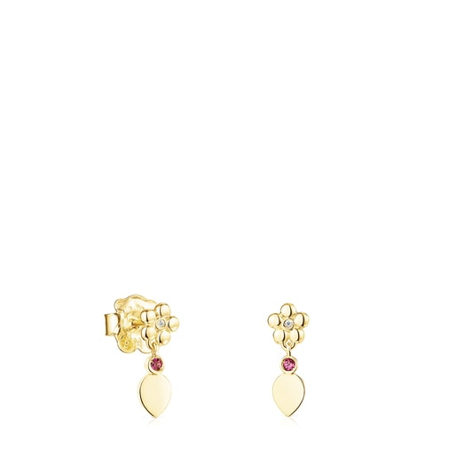 Short Gold Fragile Nature Earrings with Diamonds and Ruby