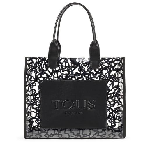 Large shopping bag Amaya Vinyl transparent black