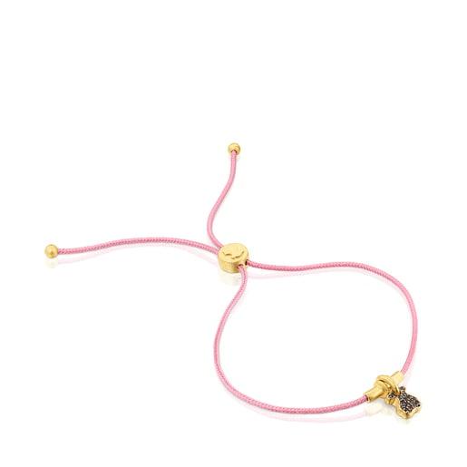 Silver vermeil Luah bear cord Bracelet with quartz
