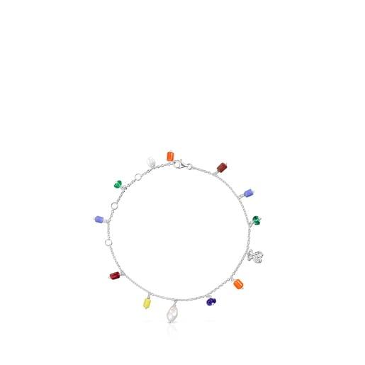 Tobillera de plata, perla y glass multicolor Oceaan