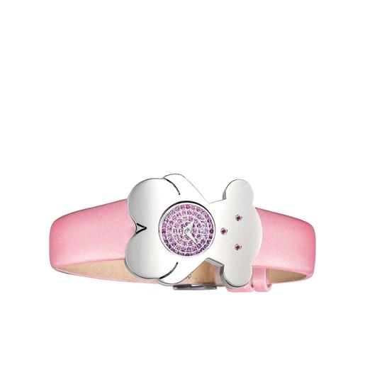 Ρολόι Tousy από ατσάλι με διαμάντια και λουράκι από ροζ σατέν