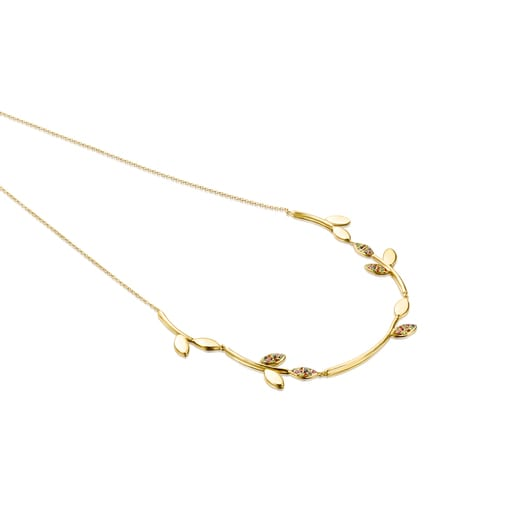 Silver Vermeil with Gemstones Real Mix Leaf Necklace