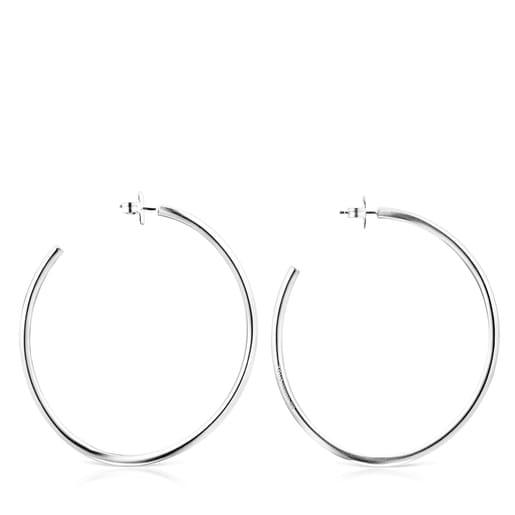 Silver Hav wave-shaped Hoop earrings