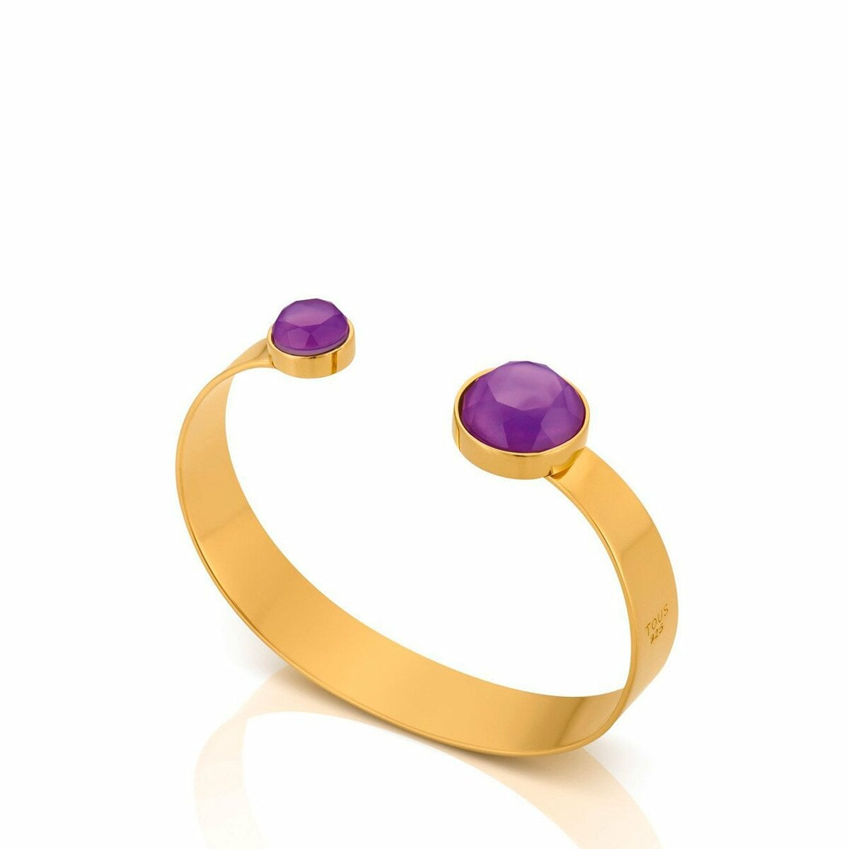 Vermeil Silver Bright Cuff with Amethyst and Mother of Pearl
