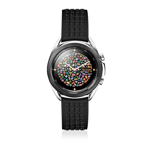 Black IP steel Samsung Galaxy Watch3 by TOUS with black silicone strap