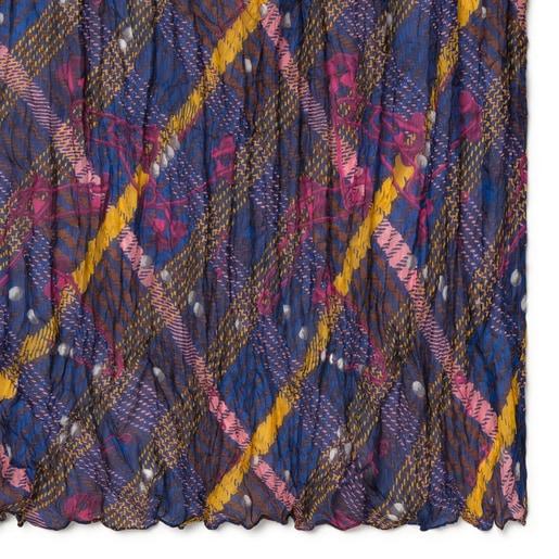 Pañuelo Tile Exene Plis de seda rosa y azul