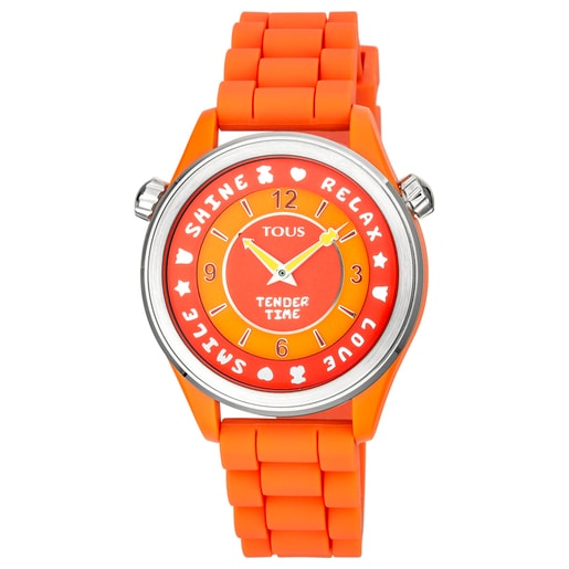 Steel Tender Time Watch with orange silicone strap