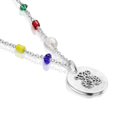 Long silver Oceaan cameo Necklace with multicolored glass and cord