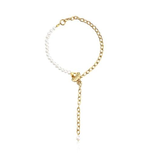Muschel-Halskette Oceaan aus Vermeil-Silber mit Perlen