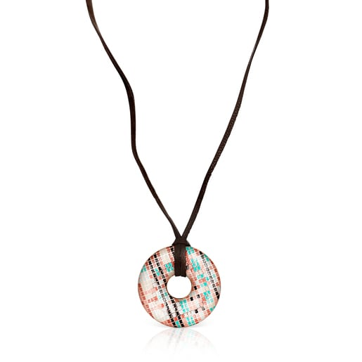 Tartan disc Necklace in Rose Silver Vermeil with Enamel and brown Leather