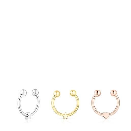 Set mit dreifarbigen Septum-Ringen TOUS Basics aus Stahl