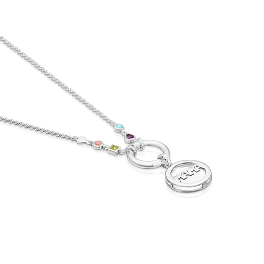 Silver TOUS Mama medallion Necklace with Gemstones