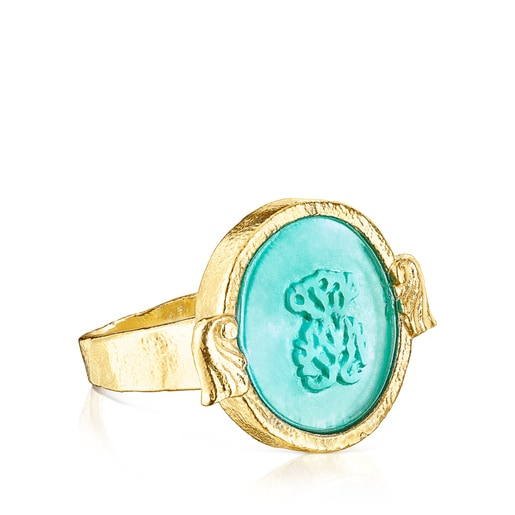 Silver vermeil Oceaan Color cameo Ring with green glass