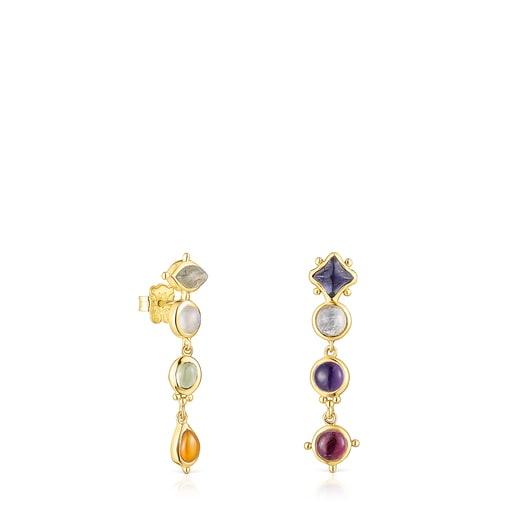 Long silver vermeil Magic Nature Earrings with gemstones